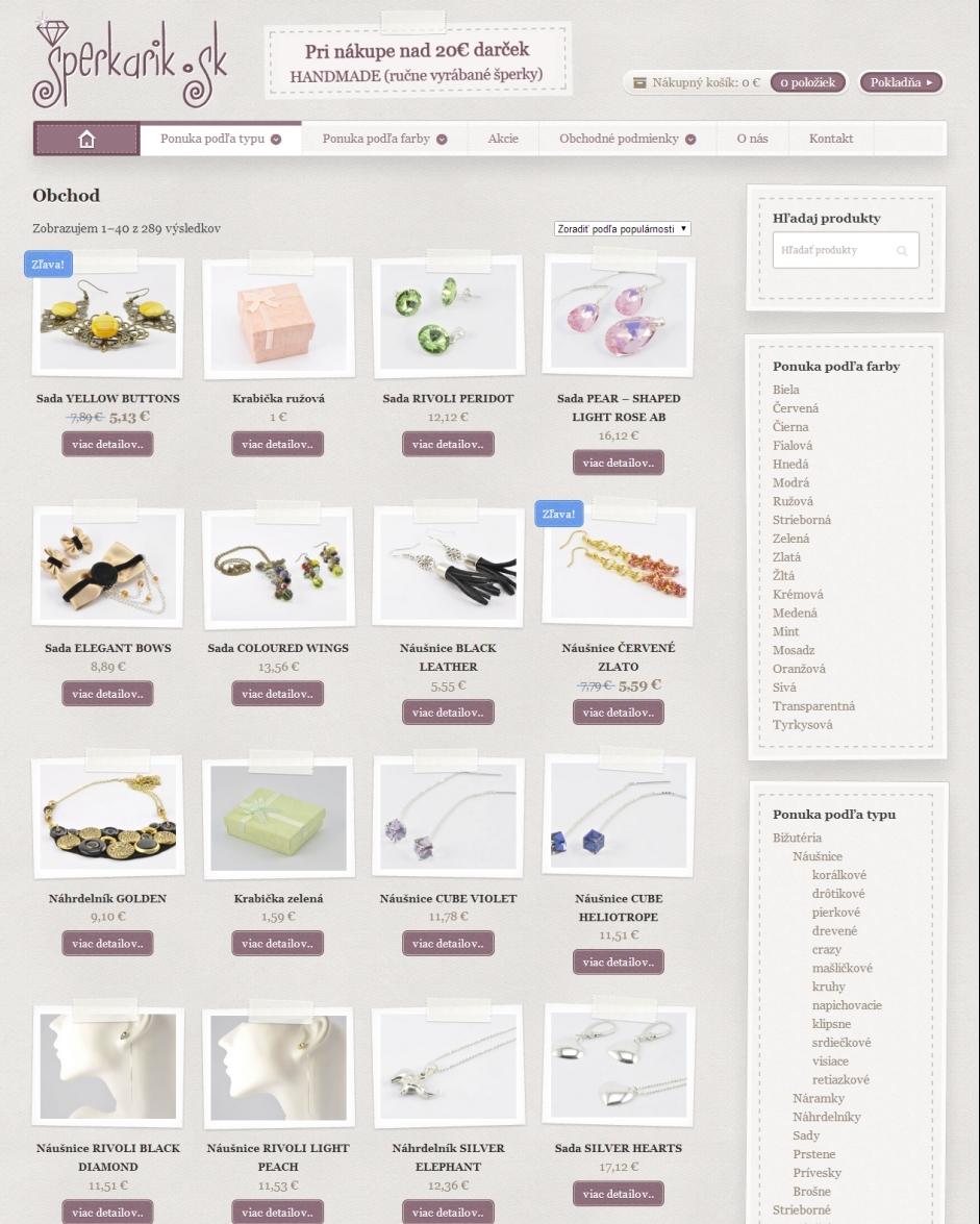 Internetový obchod Šperkárik - bižutéria a šperky